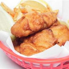 Classic Fish and Chips- I add a few drops of tabasco sauce and only a 1/4 teaspoon of black pepper and I use flat beer instead of water.  It puffs up, nicely, and really is yummy.  Keep the fish and fries in a 170 degree oven while making the rest.  Serve with a Pub Vinegar shaker....