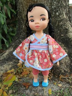 Kimono Dress fits Disney Animator dolls by WeeWhimzyWardrobe on Etsy Mulan Doll, Disney Animator Doll, Disney Dolls, My American Girl, American Girl Clothes, American Dolls, Tiana, Merida, Aladdin