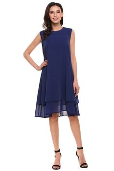 Dark blue New Women Casual O-Neck Sleeveless Solid Double Layers Chiffon Tank Pleated Hem Loose Dress