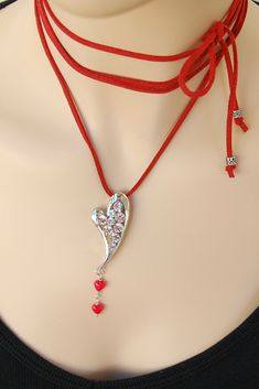 Rhinestone Heart pendant Red suede wrap choker Boho choker necklace Sexy wrap tie necklace Valentine's Heart jewelry for her gift for women Chocker Necklace, Love Necklace, Heart Pendant Necklace, Chokers, Jewelry For Her, Heart Jewelry, Valentine Heart, Valentines, Hippie Styles