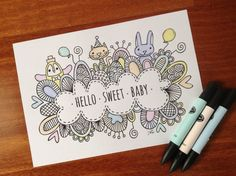 Download Colouring Page Hello Sweet Baby Digital by goggo101