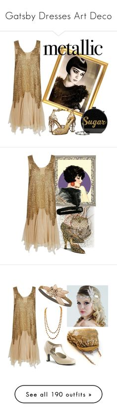 """Gatsby Dresses Art Deco"" by yours-styling-best-friend ❤ liked on Polyvore featuring gatsby, dress, artdeco, Flapper, Dolce&Gabbana, Edie Parker, Whiting & Davis, Funtasma, Aquazzura and Judith Leiber"