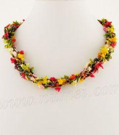 Free Crochet Pattern: Malibu Necklace [NOTE: need to use Berlini Malibu yarn for affect!] (free crochet pattern)