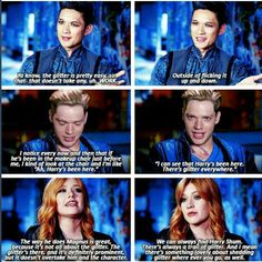 Glitter, glitter EVERYWHERE! The new cast of Shadowhunters, Magnus, Jace and Clary. Can't wait.