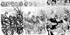 -Ryan Ottley Cover construction. Invincible 112, digital layouts, pencils, then inks.