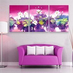 Create a relaxing refuge in your home with lotus flower wall art. You can use lotus flower wall decor in any room of your home but especially bedrooms, living rooms and bathrooms.  Although I love it in my office.  You can find cute lotus flower clocks, lotus flower wall tapestries, lotus flower wall decals, lotus flower wall murals that loook cute. Royal- Modern Style canvas painting Ink color lotus flowers Wall Clock in Canvas 3pcs