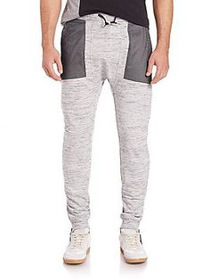 Madison Supply Cotton-Blend Ankle Zip Sweatpants - Heather Grey - Size