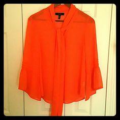 Jessica Simpson shear shirt size med orange Jessica Simpson shear shirt size med orange with great sleeves Jessica Simpson Tops Blouses