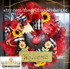 Red and Black Rooster Welcome Wreath by lilmaddydesigns on Etsy, $85.00