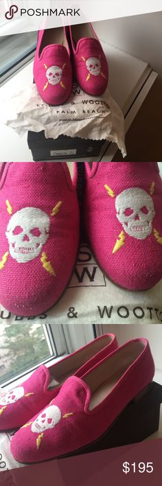 """Stubbs & Wootton """"VoltageFuscia"""" pink linen loafer Stubbs & Wootton """"Voltage Fuscia"""" hot pink linen loafers.  Size 6.5. Comes with original shoe box and Stubbs dust cloth (not a bag).   Voltage skull motif at front of shoes solid Fuscia throughout.   These shoes electrify any outfit 👍‼️.  This FUN pattern gets A LOT of attention anytime you wear them -- I always recv'd compliments because of the fun color👍 I am only selling bc I broke my ankle and can't wear them.   Please NOTE wrote my…"""