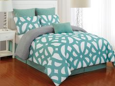 Uxbridge 7Pc Quilted Oversized Comforter Set for $74.99 Available in Dusty Teal/ Grey, Grey/Citron & Indigo/Grey