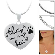 Always in My Heart Paw Print Sterling Necklace at The Animal Rescue Site - funds 28 bowls of food.