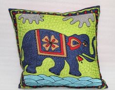 Nice hand made work on cushion cover from Vintage Handicrafts