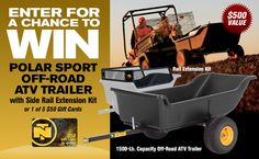 Enter this sweepstakes + win a Polar Sport Off-Road ATV Trailer + Side Rail Extension Kit or 1 of 5 $50 NorthernTool.com gift cards! Share your referral link with friends + earn more entries for yourself if they enter! #NTPolarSweeps