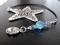 Womens Beaded Bookmark LIGHT BLUE with OM Charm