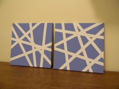 "12""x12"" Canvas Wall Art - use painters/masking tape in different sizes, paint, let dry and remove tape"