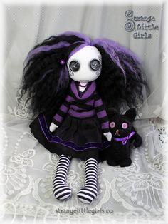 Gothic cloth art doll with needle felted, black cat - Selena Nox and Salem by Strange Little Girls  #buttoneyeddolls #gothicdolls #clothartdolls #needlefeltedcat