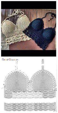 """Top all'uncinetto Visita nuestra pagina para ver más modelos! ❤❤❤ www.modainnovadora.com ❤❤❤ Visit our website to see """"corpiño bikini crochet M (Diy Summer"""