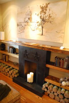 add big wooden planks around a low fireplace for books, photos, and art instead of one mantle above.