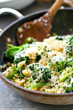 Flavorful roasted garlic and broccoli collide with creamy Parmesan risotto into one killer side dish that's incredibly easy to throw together and ready in under 30 minutes too!