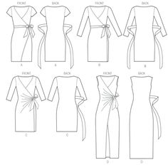 Faux Wrap Dress Pattern Ideas For 2019 Sewing Clothes, Diy Clothes, Sewing Coat, Skirt Sewing, Clothing Patterns, Dress Patterns, Coat Patterns, Pattern Dress, Wrap Around Dress