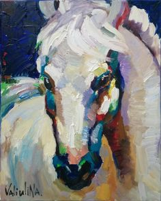 White horse painting   oil painting on canvas by ValArtGallery, $210.00