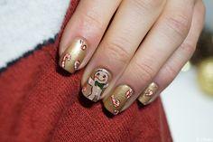 Nail art pain d'épice  --- Gingerbread man nail art