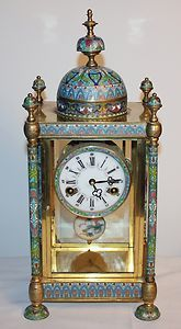 Antique Square Column Chinese Brass & Cloisonne / Enamel Mantle KWKS Clock