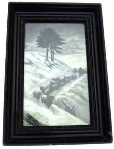 Edwardian Oil Painting of Winter Scene Farmer and Sheep in Snow Sheepdog Sidney… Vintage Home Decor, Vintage Art, Vintage Landscape, Painting Snow, Vertigo, Winter Scenes, Landscape Paintings, Farmer, Sheep