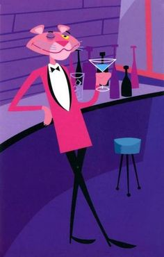 Pink Panther enjoying a cocktail mid century modern art Retro Kunst, Retro Art, Mid Century Modern Art, Mid Century Art, Rosa Panther, Pink Panther Diamond, Tweety, Tom Et Jerry, Panthères Roses