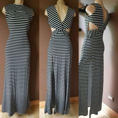 Love Nation fabulous trendy black and white stripped maxi dress, Sz medium #Love