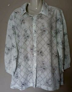 SAG HARBOR Women's Size L White  Floral Print Eyelet Cotton Casual Blouse Shirt #SagHarbor #ButtonDownShirt #Casual