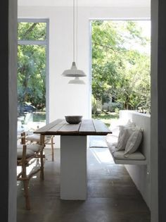 Must show this to Kate.  Lovely farm table w/ a modern twist.                                         rustic dining room