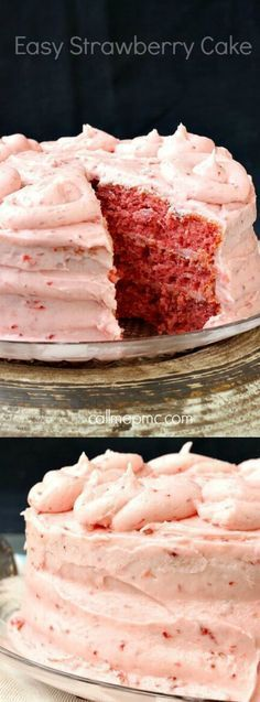 Get ready because this Easy Strawberry Cake from Paula over at Call Me PMc is going to ROCK your world! It seriously looks and tastes just like a bakery cake.