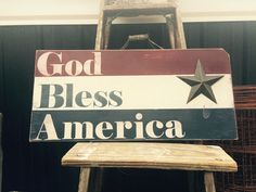 God bless America sign. Patriotic signs.  Americana decor. Wooden signs. Primitive sign. Distressed American flag signs. July 4th decor