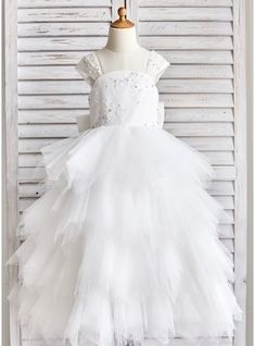 28fe7723fff Ball Gown Floor-length Flower Girl Dress - Tulle Lace Sequined Straps With  Bow(s) Rhinestone V Back