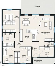 WeberHaus – Baureihe myLife – Home living color wall treatment kitchen design Layouts Casa, House Layouts, Bungalow House Design, Modern House Design, Modern House Plans, House Floor Plans, Bungalows, Architecture Plan, Model Homes