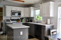 Kitchen After - painted cabinets grey and white