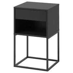 IKEA - VIKHAMMER, Bedside table, black, The drawers close silently and softly, thanks to the integrated soft-closing function. May be completed with FIXA stick-on floor protectors; protect the underlying surface against wear.