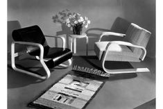 ARMCHAIR 400  One of the characteristics of furniture designed by Alvar Aalto is its adaptability; many different chairs can be produced from one basic model. Different combinations of arms and legs, 'jouset' (springs) and 'kehät' (rings), have proved to be ideally suited to this kind of variation. Alvar Aalto, Floor Chair, Armchair, Furniture Design, Foundation, Arms, Chairs, Rings, Model