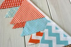 Bunting Banner, Fabric Flags, Photography Prop, Birthday Decoration, Nursery Decor  -  Aqua Blue and Orange Chevron - Ready to Ship