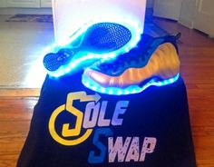Nike Air Foamposite One   Electrolime/Blue   Light Up Customs by Sole Swap