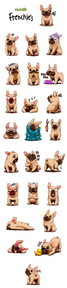 Stickzilla - Emojis StickersBriefing: 24 stikers based on a french bulldog.