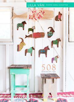 Lilla Vän: LARGE DALA HORSE ( painted wood animal silhouette, swedish decor ). $59.00, via Etsy.
