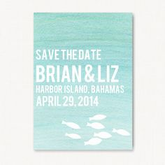 Aqua Watercolor Ombre Save the Date Wedding by PureJoyPaperie, $3.75