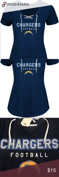 Los Angeles Chargers True Pride Program Lace Up T Brand New Officially Licensed with tags. This lightweight stylish v-neck lace up tee is 100% poly.  Textured jersey style raised lettering and just a touch of sparkle in the edges. 726653818556 Tops Tees - Short Sleeve