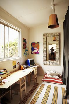 Kids craft desk for narrow space. Source: lilyfield life blog, reno article