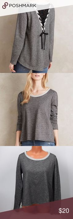 "ANTHROPOLOGIE Everleigh Lace-Up Knit Sweater Top ~BRAND ANTHROPOLOGIE Everleigh ~STYLE:  Lace-Up Tie Back Pullover Knit Sweater ~CONDITION: In excellent pre-loved condition  ~SIZE: Small  ~MEASUREMENTS: Lengths: 21 1/2""  front of sweater & 25"" back of sweater  Bust: 19""   ~FABRIC: 97% COTTON, 3% SPANDEX  If you have any questions feel free to send a message!  ~Ships within 24-48 hours after payment.~   Item#T17 Anthropologie Sweaters Crew & Scoop Necks"