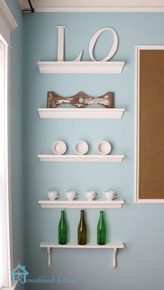 DIY Furniture : DIY Shallow Open Shelves in Dining Room