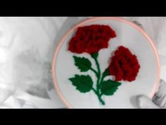 Hand embroidery-Rose with satin, cast on stitch-leisha's galaxy. - YouTube